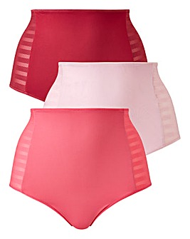 3 Pack Tummy Tamer Pink Full Fit Briefs