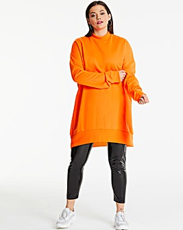 AX Paris Neon Orange Plain Jumper Dress