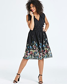 Lovedrobe Border Print V-Neck Dress