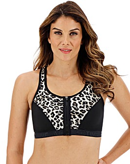 Pretty Secrets High Impact Animal Print/Black Zip Front Sports Bra