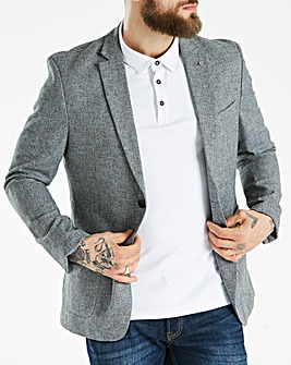 J By Jasper Conran Grey Cotton Linen Blazer