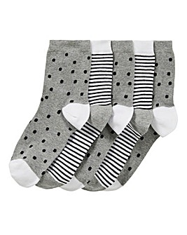 5PK Stars Ankle Socks-Wide Fit