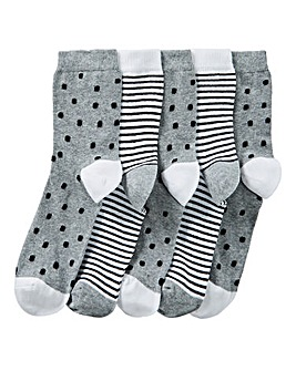5 Pack Spots and Stars Ankle Socks