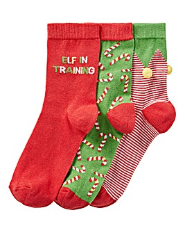 3 PACK FESTIVE ELF SOCKS