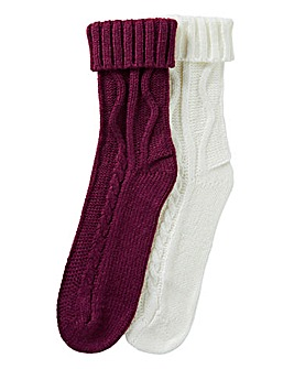 Pretty Secrets 2 Pack Cable Knit Socks