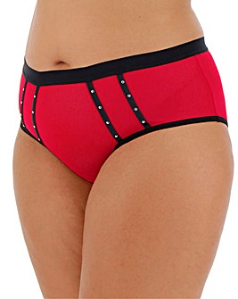 Simply Be Stud Red/Black/Silver Brazilian Brief