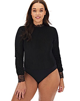 Black Striped Velour Body
