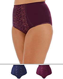 Pretty Secrets Rose 2 Pack Blueberry/Mulberry Embroidered Control Briefs