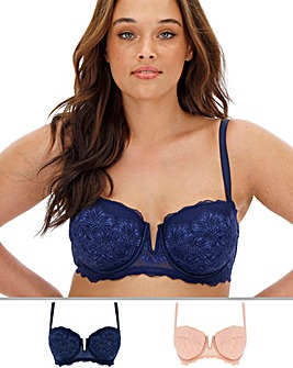 Pretty Secrets 2 Pack Katie Blush/Navy Padded Multiway Wired Bras