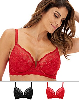 Pretty Secrets 2 Pack Katie Red/Black Lace Full Cup Wired Bras