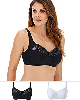 Pretty Secrets Jane 2 Pack White/Black Non Wired Bras