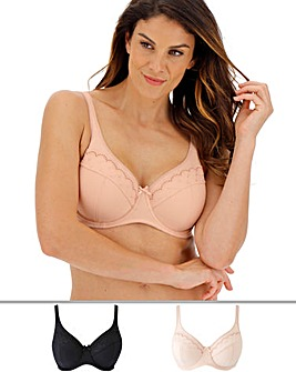 Pretty Secrets Sally 2 Pack Beige/Black Minimiser Full Cup Wired Bras