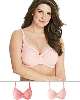 Pretty Secrets Sall 2 Pack Rose/Apricot Minimiser Full Cup Wired Bras