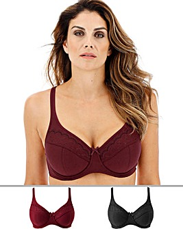 Pretty Secrets Sally 2 Pack Plum/Black Minimiser Full Cup Wired Bras