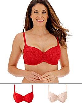 Pretty Secrets 2 Pack Animal Mesh Red/Blush Padded Balcony Bras