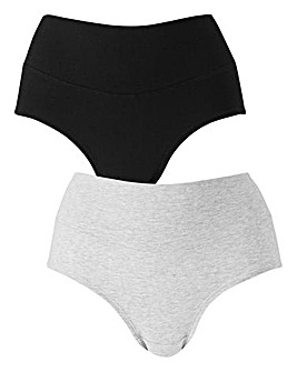 Pretty Secrets 2 Pack Under the Bump Briefs Black/Grey Marl