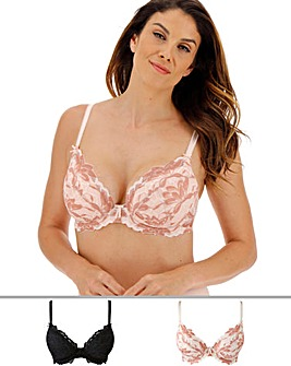 Pretty Secrets Lily Lace 2 Pack Black/Blush Plunge Bras