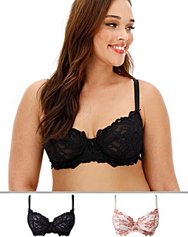 Pretty Secrets Lily Lace 2 Pack Black/Blush Minimiser Bras