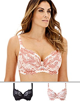 Pretty Secrets Lily Lace 2 Pack Black/Blush Full Cup Bras