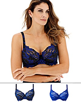Pretty Secrets Lily Lace 2 Pack Black/Cobalt Full Cup Bras
