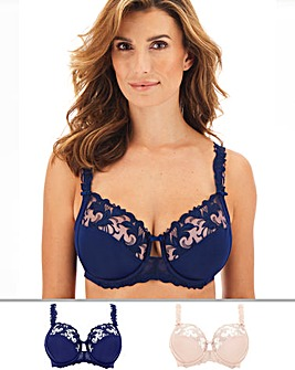 Pretty Secrets 2Pack Flora Embroidered Full Cup Wired Navy/Blush Bras