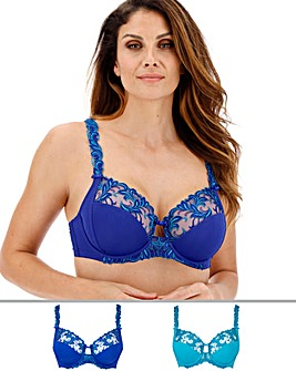 Pretty Secrets 2Pack Flora Embroidered Full Cup Wired Blue/Teal Bras