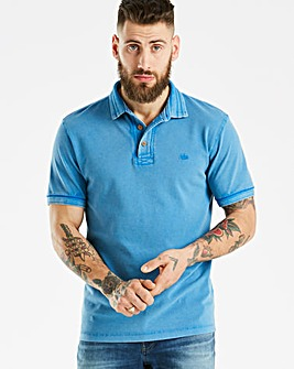 Mantaray Blue Pique Garment Dye Polo