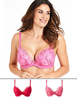 Pretty Secrets 2Pack Ella Lace Padded Plunge Pink Multi Bras