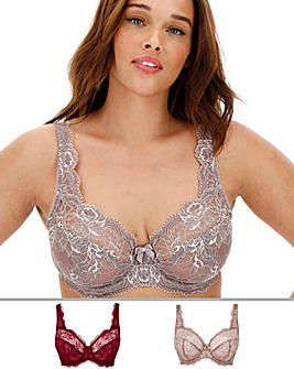 2Pack Ella Lace Full Cup Plum/Mocha Bra