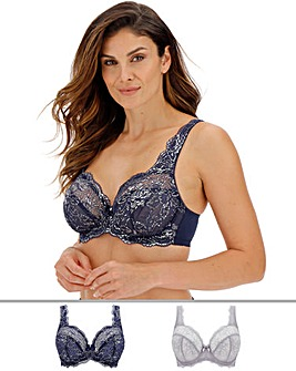 2Pack Ella Lace Full Cup Blue/Silver Bra