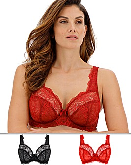 2Pack Ella Lace Full Cup Red/Black Bra