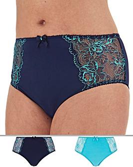 Pretty Secrets Ella 2 Pack Blue Multi Lace Full Fit Briefs