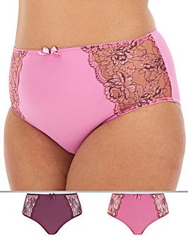 Pretty Secrets Ella 2 Pack Plum/Mocha Lace Full Fit Briefs