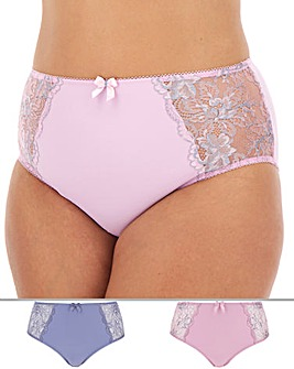 Pretty Secrets Ella 2 Pack Blue Lurex/Silver Lace Full Fit Briefs