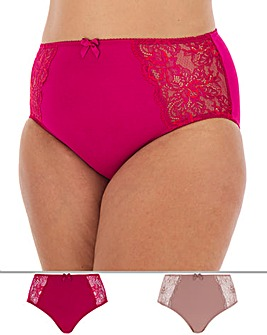 Pretty Secrets Ella 2 Pack Red/Black Lace Full Fit Briefs