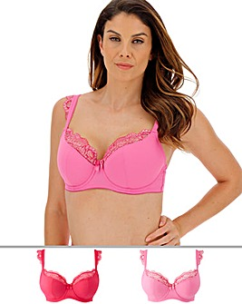 Pretty Secrets Ella Lace 2 Pack Pink Multi Padded Balcony Cap Sleeve Bra