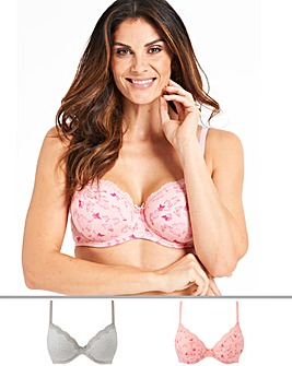 Pretty Secrets Sophie 2 Pack Grey/Butterfly Full Cup Wired Bras