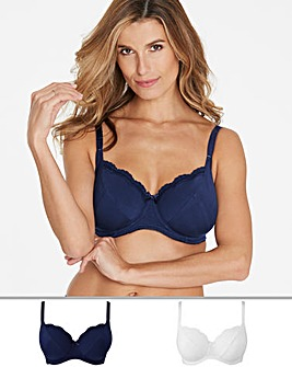 Pretty Secrets Sophie 2 Pack Navy/White Full Cup Wired Bras