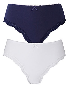 2 Pack Sophie Cotton Navy/White Briefs
