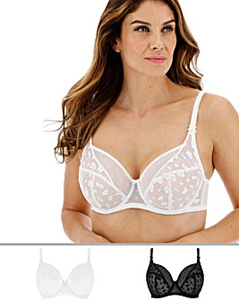 Pretty Secrets Lucy 2 Pack Spot Mesh Black/White Full Cup Bras