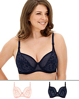 Pretty Secrets Lucy 2 Pack Spot Mesh Blush/Navy Full Cup Bras