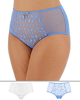 Pretty Secrets Lucy 2 Pack Spot Mesh Blue/White Deep Briefs