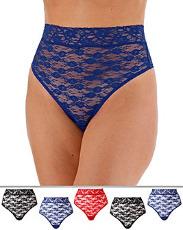 5 Pack Deep Lace Thongs