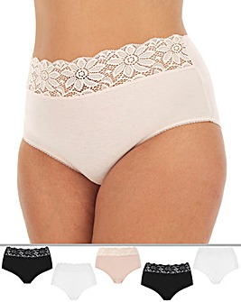 5Pack Lace Top Full Fit Briefs