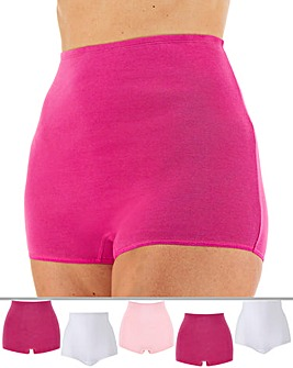 Pretty Secrets 5 Pack White/Rose/Hot Pink Comfort Shorts