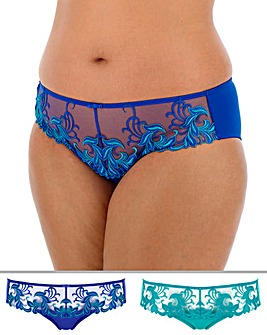 Pretty Secrets Flora 2 Pack Low Rise Blue/Teal Briefs