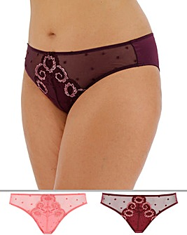 Pretty Secrets Joanna 2 Pack High Leg Plum/Rose Briefs