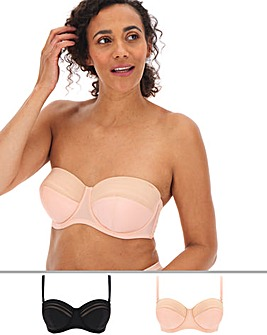 MAGISCULPT 2 Pack No VPL Black/Blush Multiway Bras