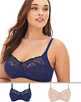 2 Pack Eva Lace Non Wired Bras
