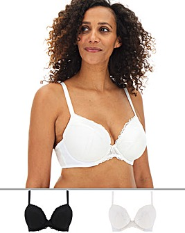 Pretty Secrets 2 Pack Eva Lace Black/White Padded Plunge Bras